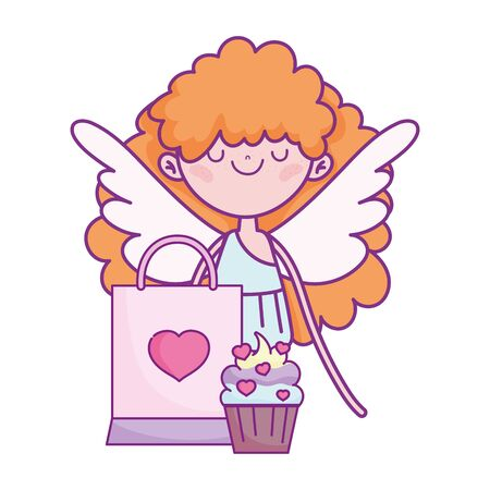 happy valentines day, cupid with cupcake and bag gift vector illustration