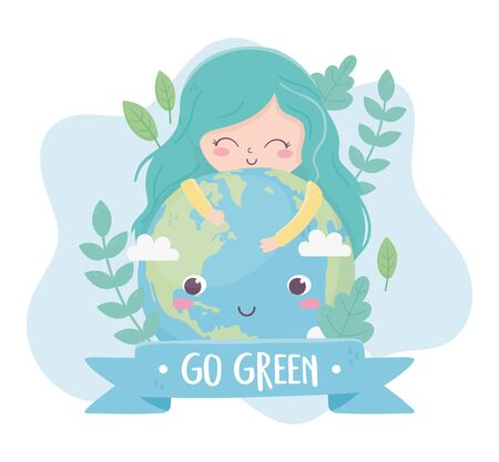 cute girl hugs world plants nature environment ecology vector illustration
