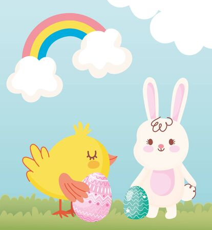happy easter rabbit and chicken with eggs in grass rainbow clouds vector illustration Ilustrace
