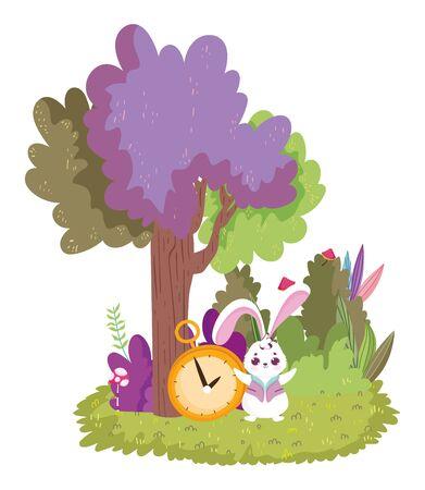 wonderland, rabbit and clock tree bush foliage cartoon vector illustration