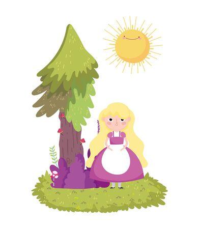 girl tree bush mushroom grass in wonderland vector illustration