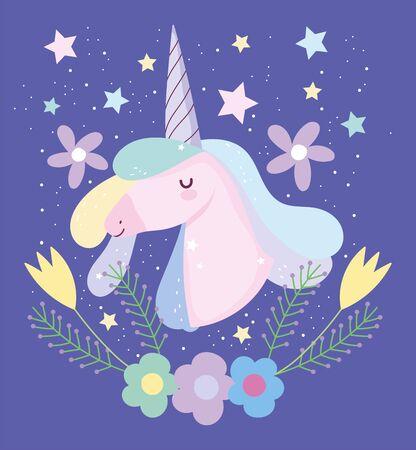 unicorn colored hair stars flowers fantasy magic cute cartoon vector illustration
