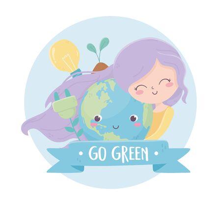cute girl with world bulb plant plug energy environment ecology vector illustration