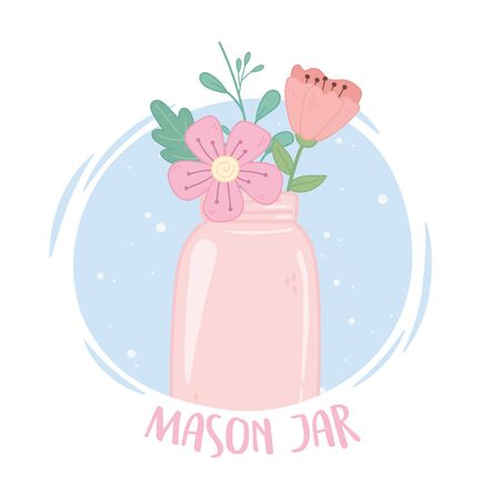 pink mason jar flowers delicate decoration ornament vector illustration