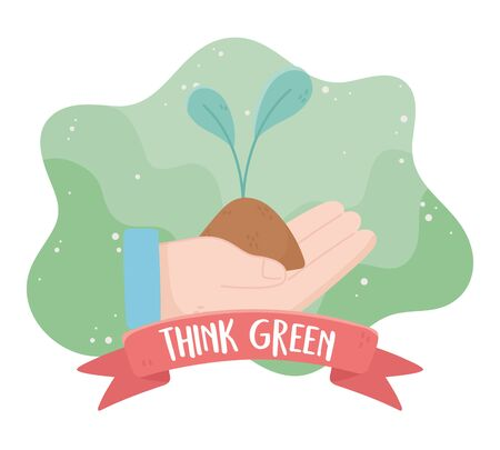 hand with plant think green environment ecology vector illustration