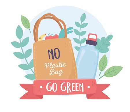 no plastic bag and bottle foliage environment ecology vector illustration