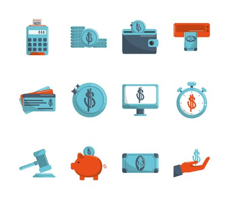 money business financial trade commerce icons set vector illustration color tone and fill