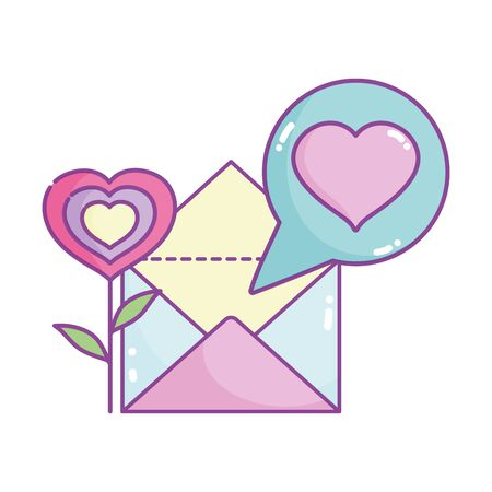 happy valentines day, flower shape heart mail letter message vector illustration