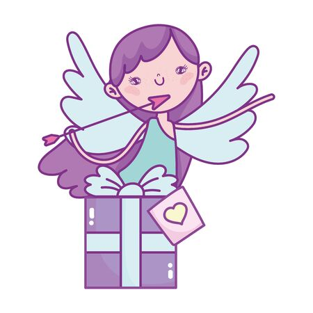happy valentines day, cupid with arrow gift box love vector illustration