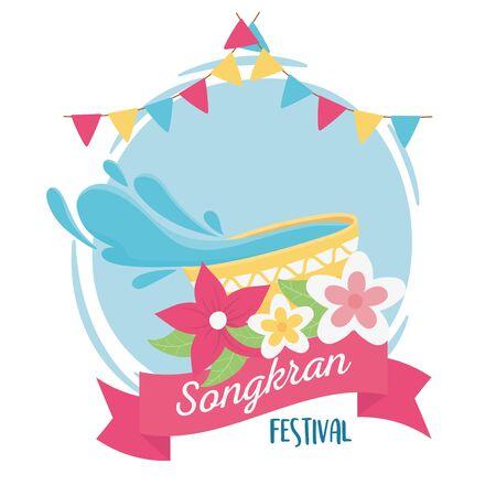 songkran festival water in bowl flowers bunting flags ribbon decoration design vector illustration