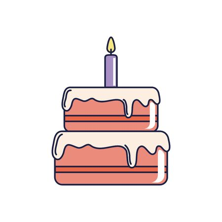 happy birthday, sweet cake with candle celebration party vector illustration line and fill style