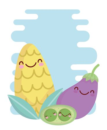 corn eggplant and peas menu character cartoon food cute vector illustration