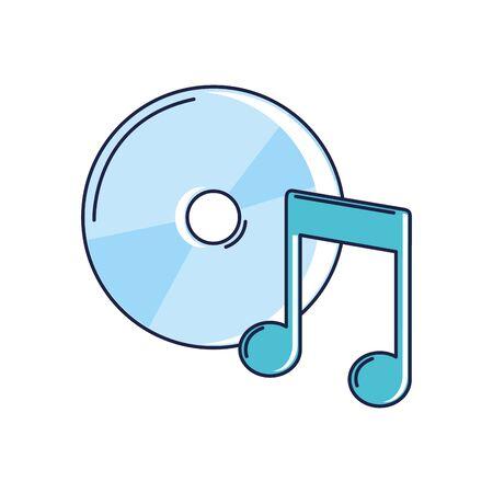 happy birthday, compact disk note music celebration party vector illustration line and fill style Vektoros illusztráció