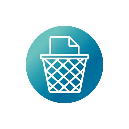 office trash can paper garbage supply block gradient style icon