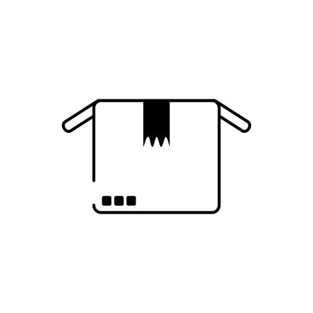 open cardboard box cargo delivery vector illustration line style icon