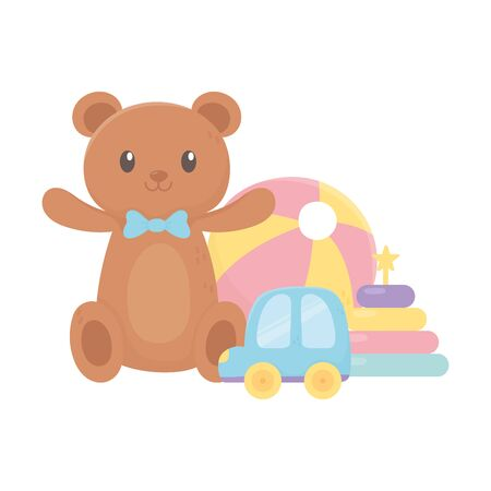 kids zone, teddy bear car stacking tower plastic ball cartoon toys vector illustration