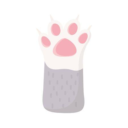 little cat raised paw cartoon, pets Vetores