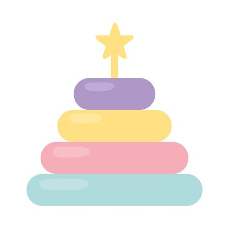 stacking tower kids toy icon design white background Ilustração