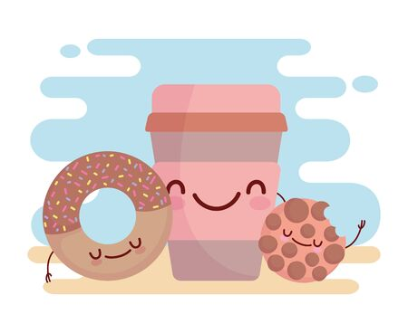 cookie donut and disposable coffee cup menu character cartoon food cute vector illustration Иллюстрация