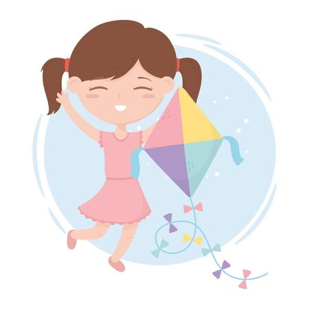 kids zone, cute little girl playing with her kite cartoon toys Ilustração
