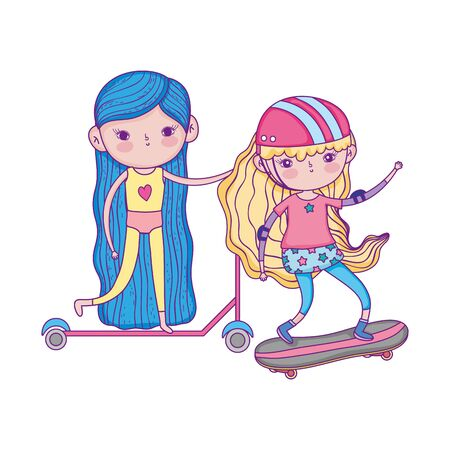 happy childrens day, little girls with scooter bike and skateboard in the park Ilustracja