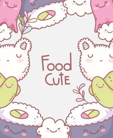 sushi octopus rice face cartoon food cute