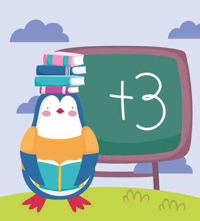back to school, penguin with books on head chalkboard cartoon vector illustration Illustration