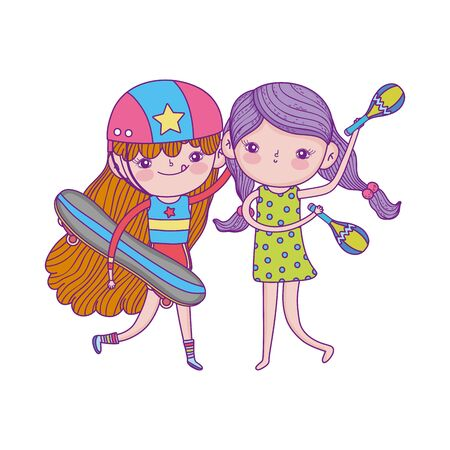 happy childrens day, cute girls with skateboard and maracas cartoon Vectores