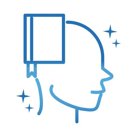 alzheimers disease neurological brain book literarure vector illustration gradient line icon Illustration