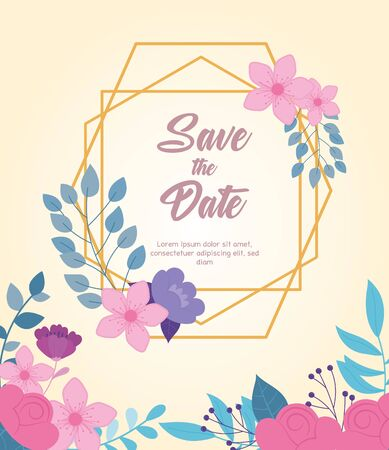 flowers wedding, save the date, event floral celebration card vector illustration Vettoriali