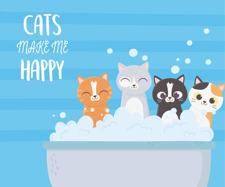 cats make me happy, cute kittens in bathtub bubbles soap cartoon vector illustration Illustration
