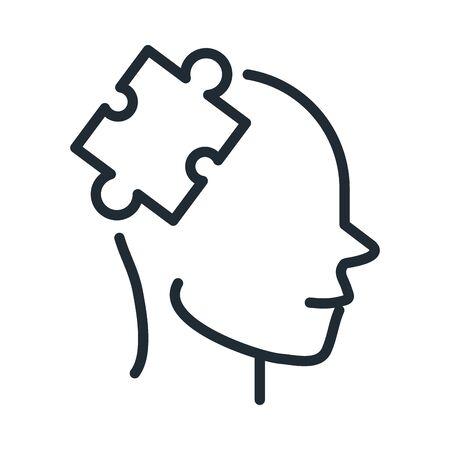 alzheimers disease brain difficult tasks vector illustration line style icon