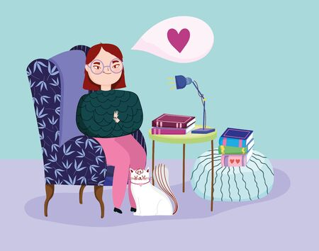 book day, teen girl in sofa with books and cat Illustration