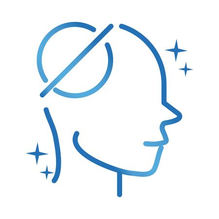 alzheimers disease neurological brain empty memorie vector illustration gradient line icon