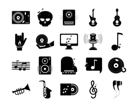 music melody sound audio icons set vector illustration silhouette style icon