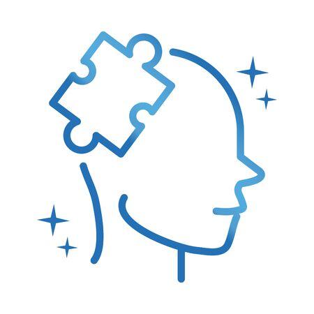 alzheimers disease brain difficult tasks vector illustration gradient line icon