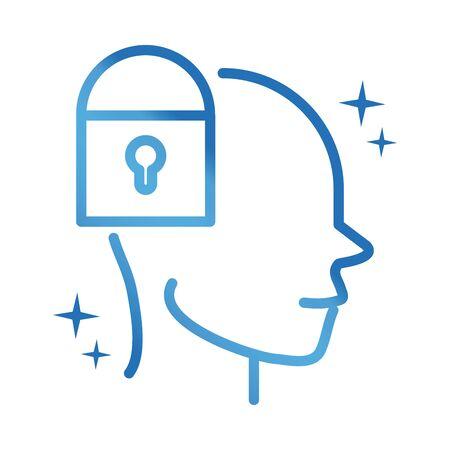 alzheimers disease neurological brain locked vector illustration gradient line icon Illustration