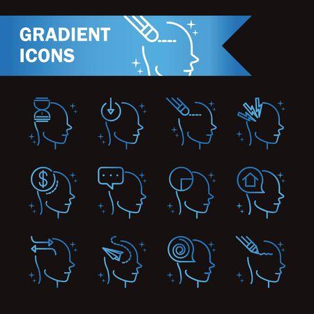 alzheimers disease neurological brain medical condition icons set gradient line black background