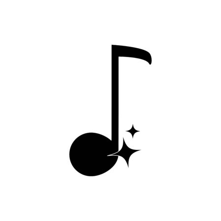 quaver note musical harmony melody sound music vector illustration silhouette style icon  イラスト・ベクター素材