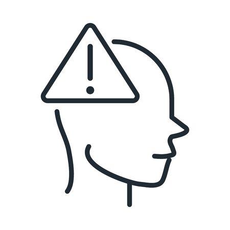 alzheimers disease neurological brain warning line style icon