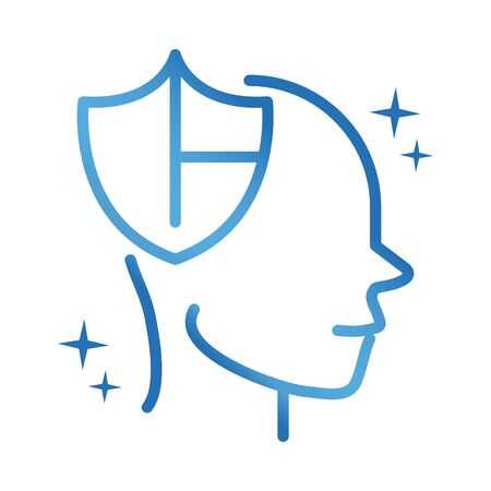 alzheimers disease neurological brain protection care gradient line icon