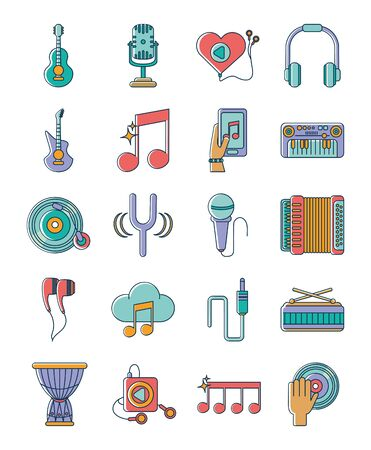 music melody sound audio icons set line and fill style Illustration