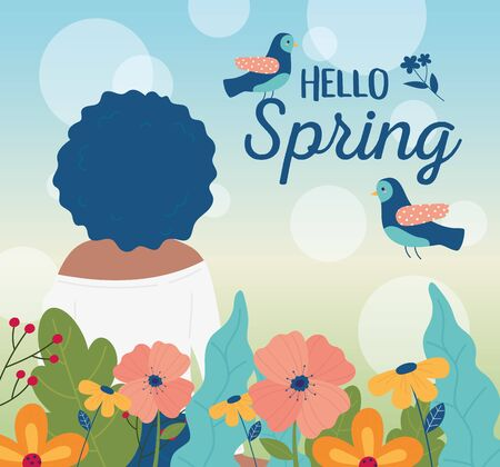 hello spring back view woman birds flowers decoration card vector illustration