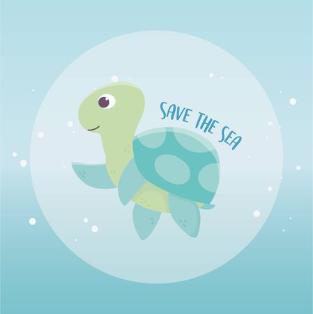 save the sea turtle environment ecology cartoon design vector illustration Иллюстрация