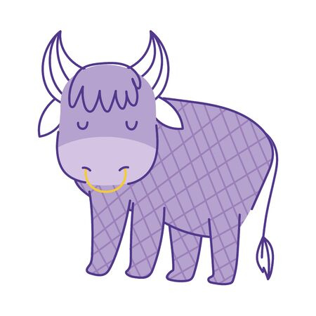 bull with gridded body animal cartoon doodle color on white background