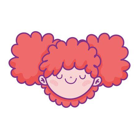 cute girl face cartoon character icon Illustration