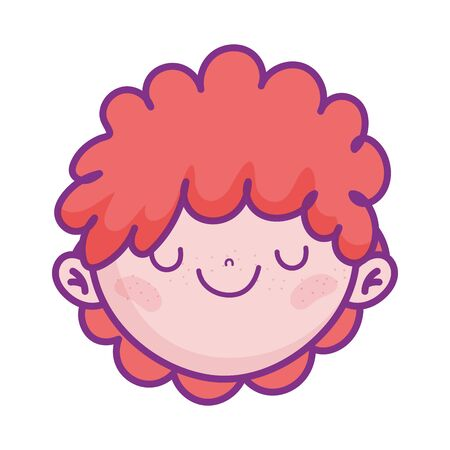 cute boy face cartoon character icon Illustration
