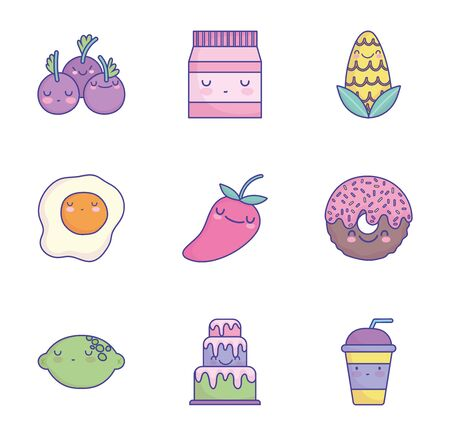 food cute cartoon character menu restaurant diet icons set flat style icon