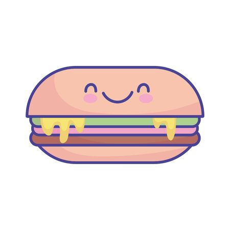 sandwich with melted cheese cartoon food cute vector illustration flat style icon