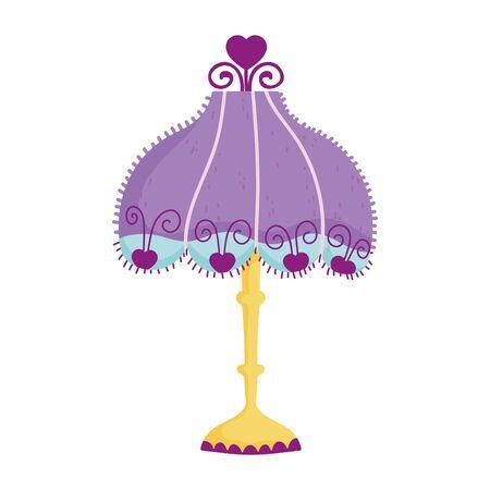 vintage floor lamp lampshade hearts decoration icon vector illustration Illustration